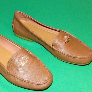 Coach Brown Opal Pebble Grain Leather Loafers 6.5M